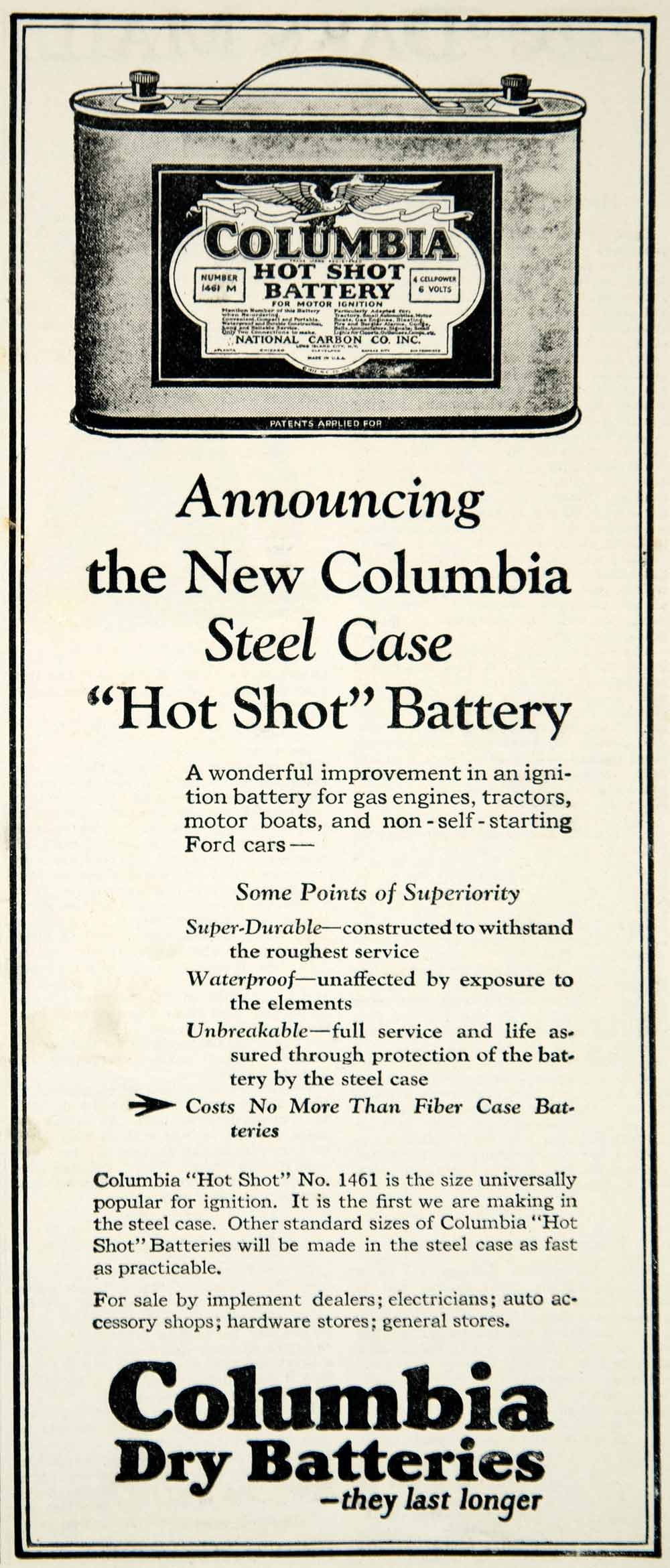1922 Ad Vintage Columbia Hot Shot Dry Battery No  1461 Ignition National  YFL1