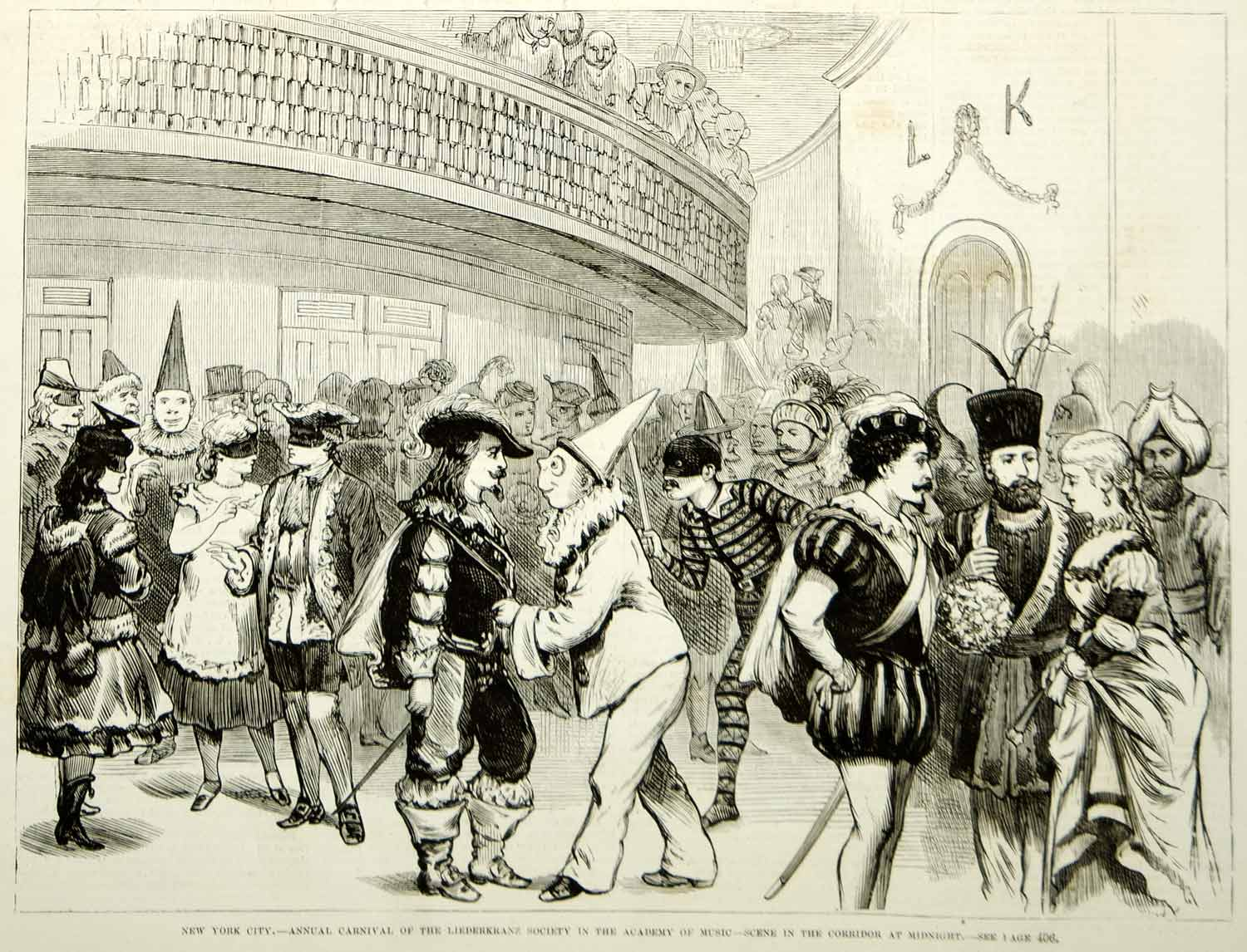1875 Wood Engraving Liederkranz Society Carnival Masquerade Party NYC Costumes
