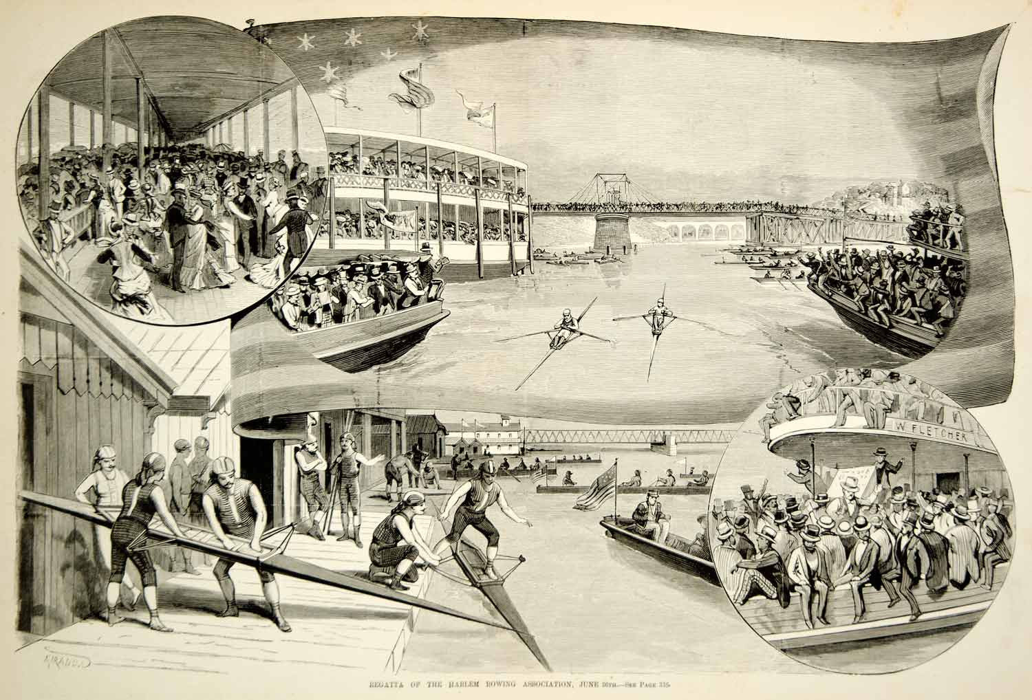 1875 Wood Engraving Harlem Rowing Regatta Boat Race Sculling Rowing Spectators - Period Paper