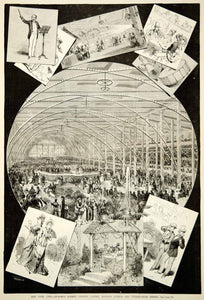 1875 Wood Engraving Patrick Gilmore Concert Madison Square Garden NYC Historic