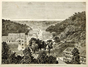 1876 Wood Engraving Hot Springs Arkansas City Ouachita Mountains Ozarks Historic