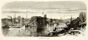 1876 Wood Engraving Newark New Jersey Passaic River Cityscape Historic Image