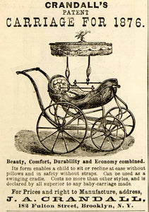 1876 Ad Antique J. A. Crandall Patent Baby Carriage Buggy Pram 182 Fulton St NYC