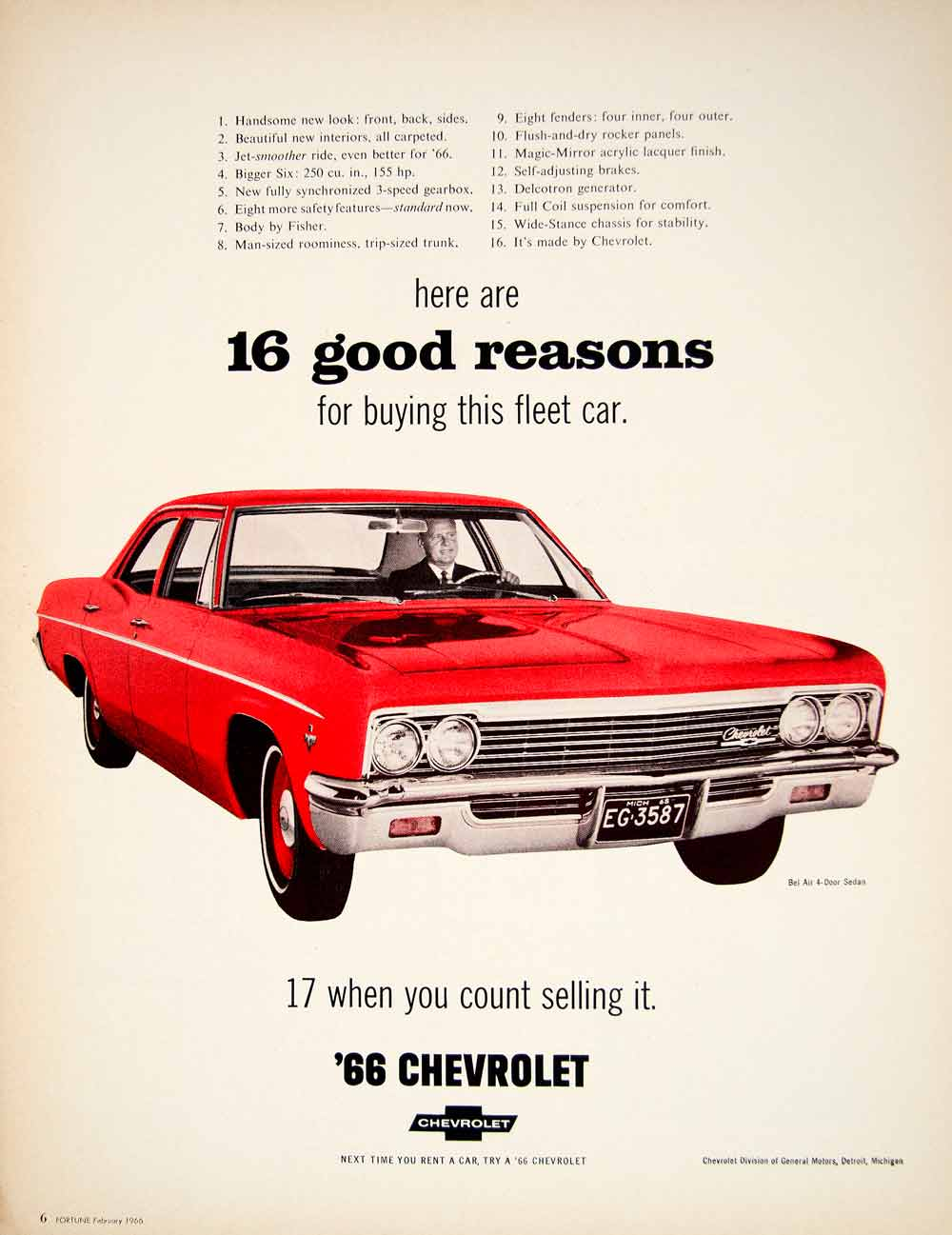 Exceptional 1966 Ad Vintage Chevrolet Bel Air 4 Door Sedan Red Fleet Car GM Automobile  YFM2