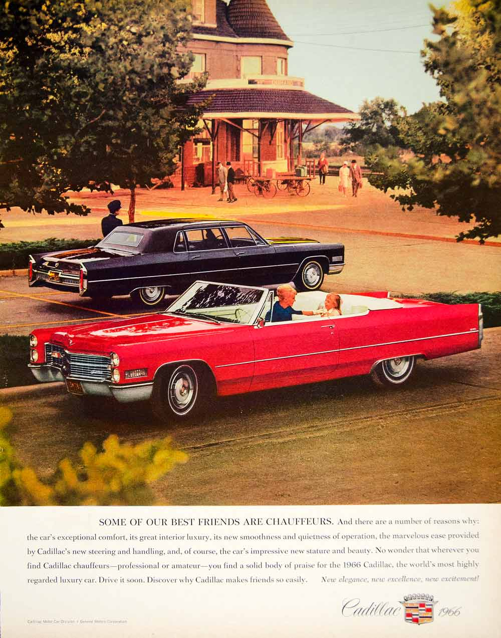 1966 Ad Vintage Cadillac Convertible Red Car Luxury Automobile Chauffeur YFM2