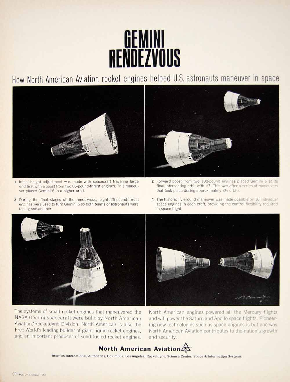 1966 Ad North American Aviation Rocket Engine Gemini 6 7 Space Rendezvous YFM2