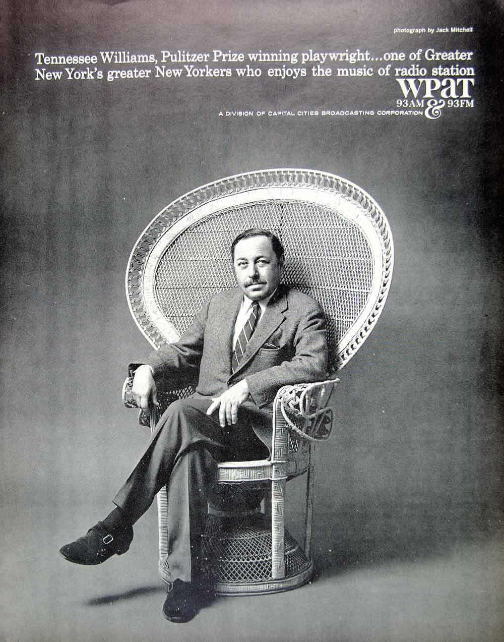 1966 Ad WPAT Radio Station Patterson NJ Tennesse Williams Playwright Author YFM3