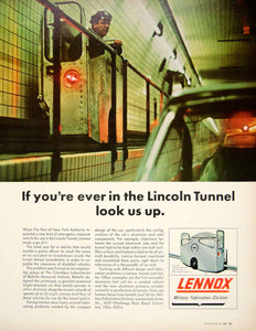 1966 Ad Vintage Lincoln Tunnel Lennox Catwalk Car Emergency Police Vehicle YFM3 - Period Paper