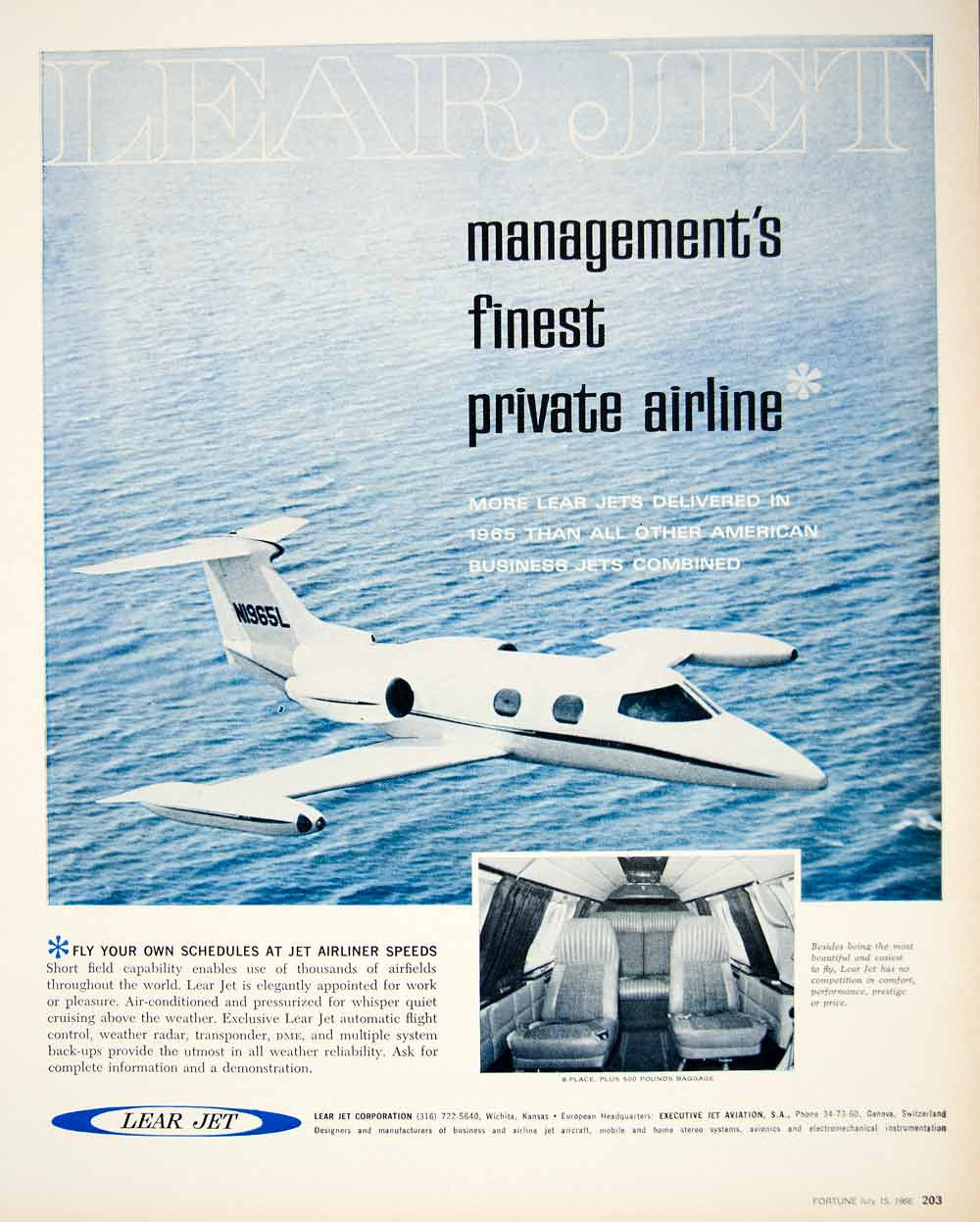 Private jet interior furnished like a vintage train aviation - 1966 Ad Vintage Lear Jet Private Business Airplane Interior Cabin Plane Yfm3 Period Paper
