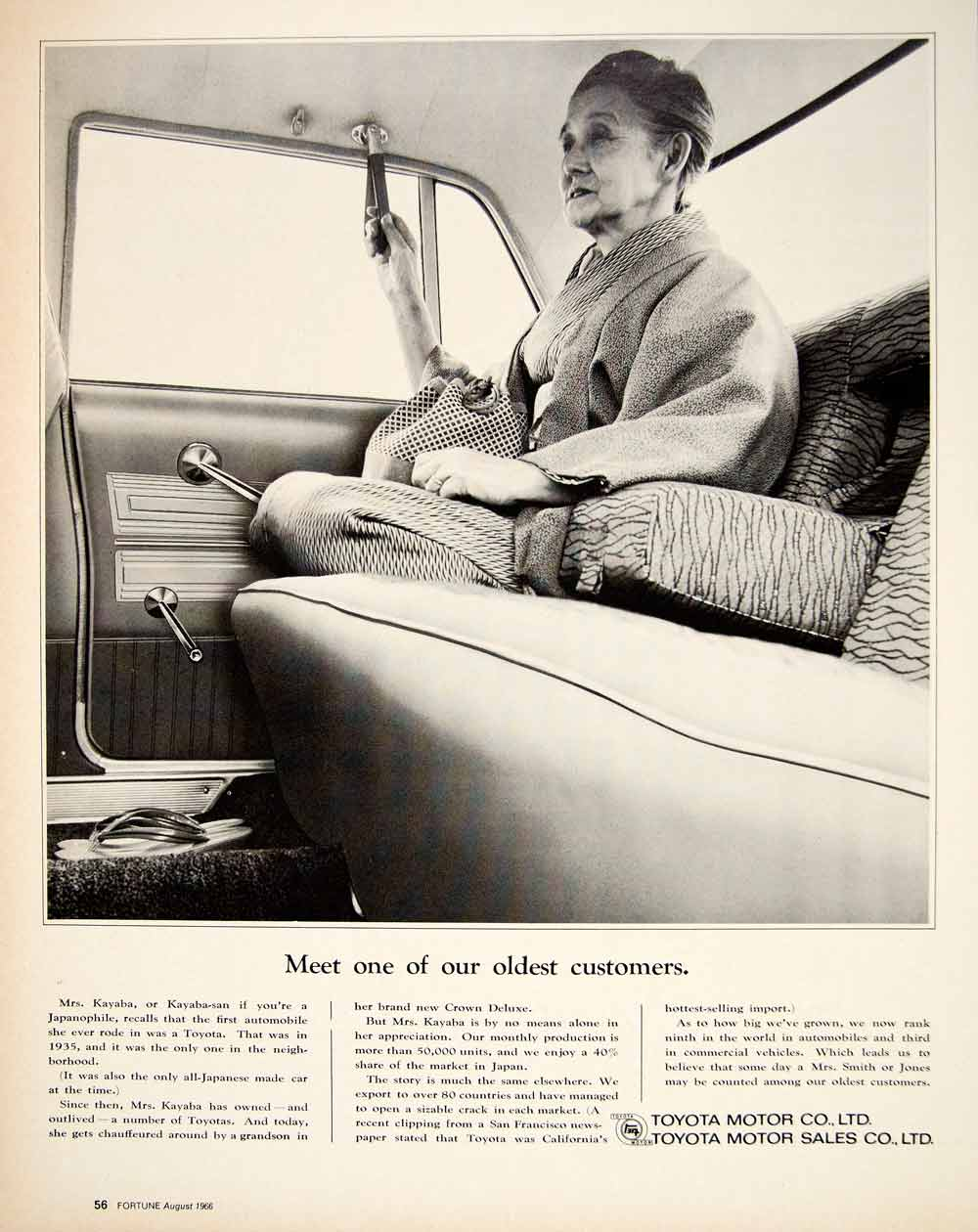 1966 Ad Vintage Toyota Import Japanese Car Oldest Customer Mrs. Kayab-san YFM3