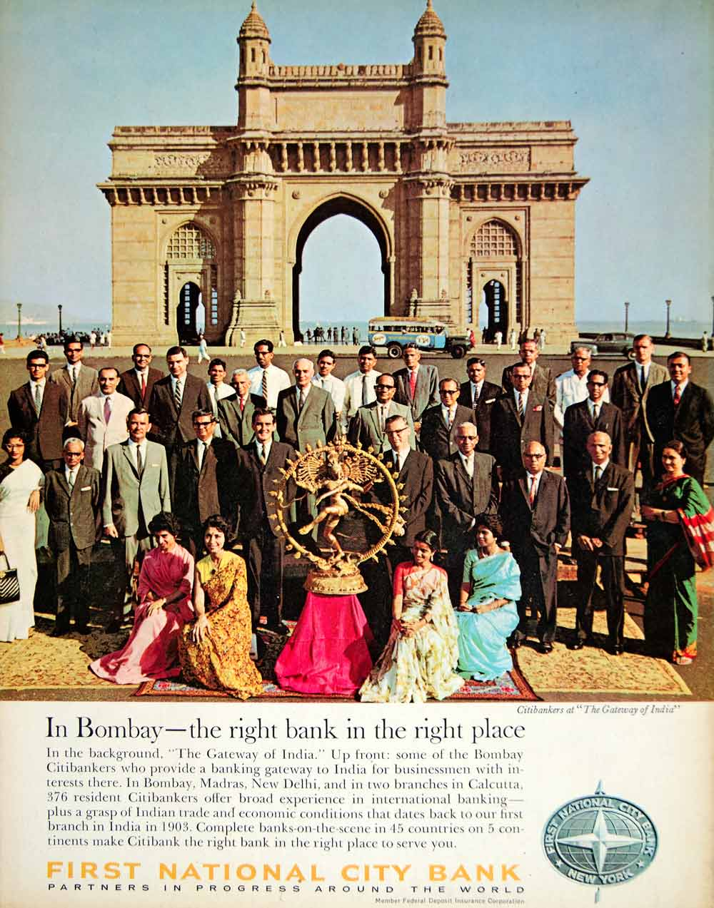 1966 Ad First National City Bank Citibank Staff Gateway India Bombay Mumbai YFM3