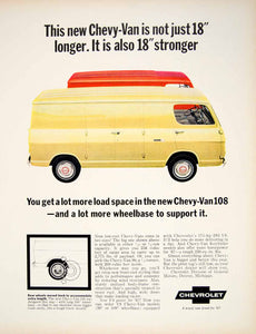 1966 Ad Vintage 1967 Yellow Chevy Van 90 108 Models Chevrolet Vehicle GM YFM3