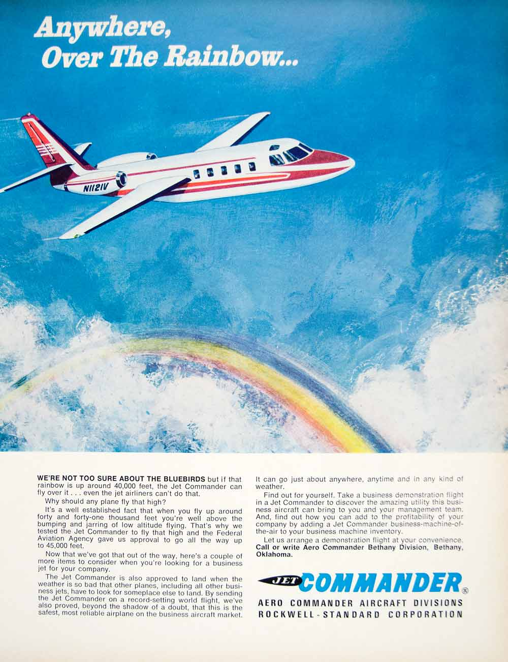 1966 Ad Vintage Aero Jet Commander Airplane Aircraft Private Plane Rainbow YFM3