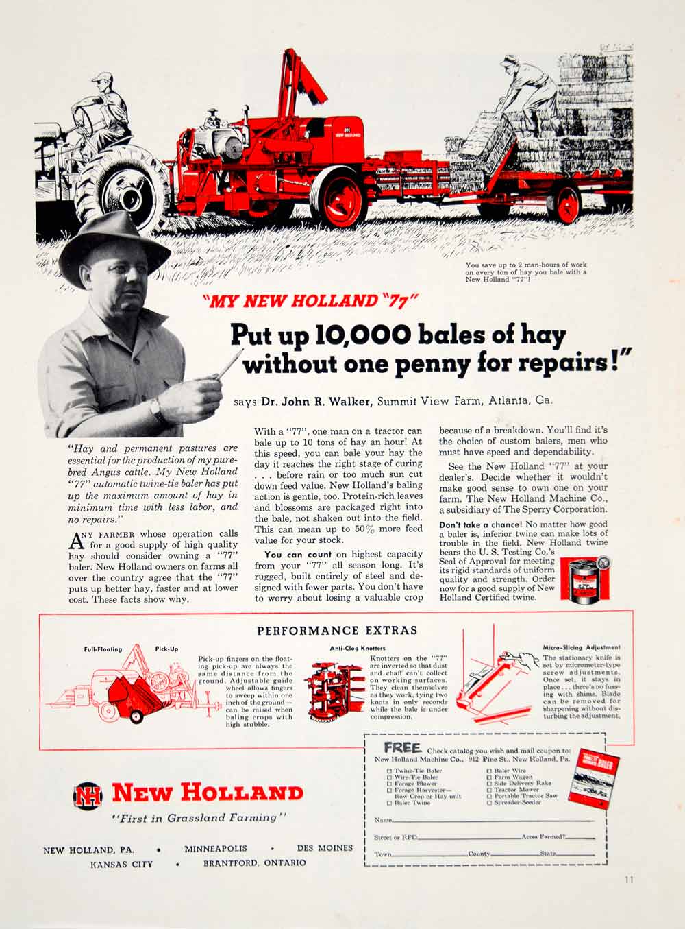 1952 Ad New Holland Haymaker Baler Farm Equipment Machinery Knotters YFQ1