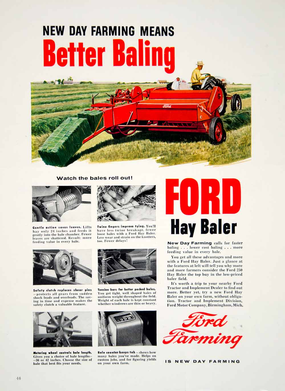 1956 Ad Ford Hay Baler Twine Maker Farming Implement Machinery Equipment  YFQ1