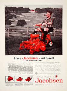 1959 Ad Jacobsen Lawnmower Red Pipe Golf Course Velva-Trim Turbo-Vac YFQ1