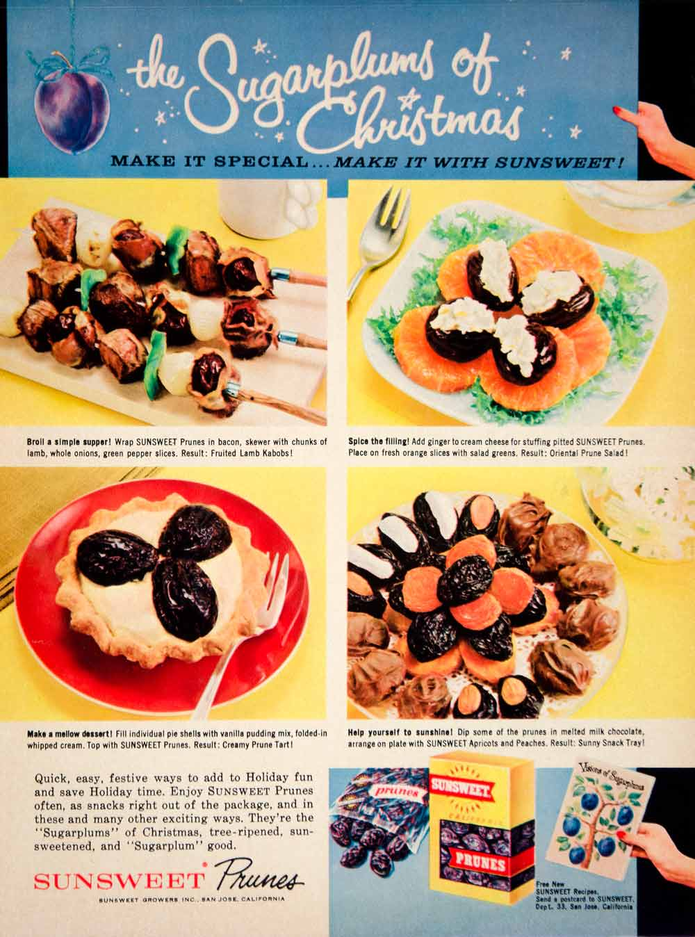 1960 Ad Vintage Sunsweet Prunes Christmas Recipes Lamb Kabobs Salad Tart YFR1