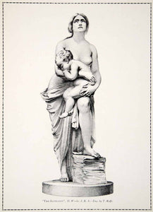 1910 Print Suppliant Neoclassical Mother Baby Nude Sculpture Statue Breast YFS1
