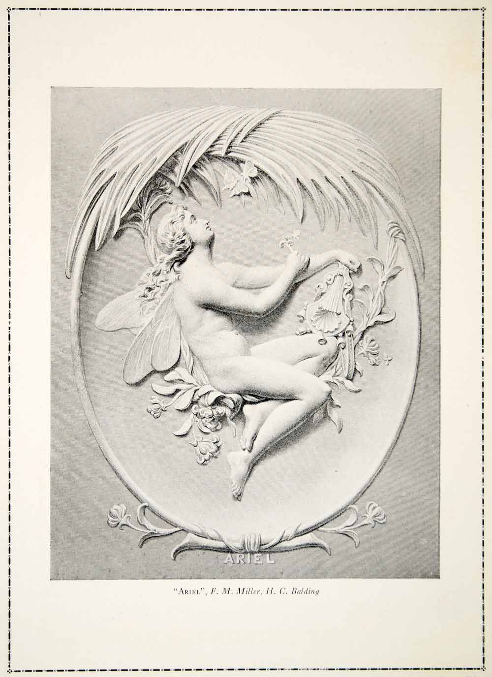 1910 Print Relief Ariel Fairy Faery Neoclassical Art Nouveau Naked Miller YFS1