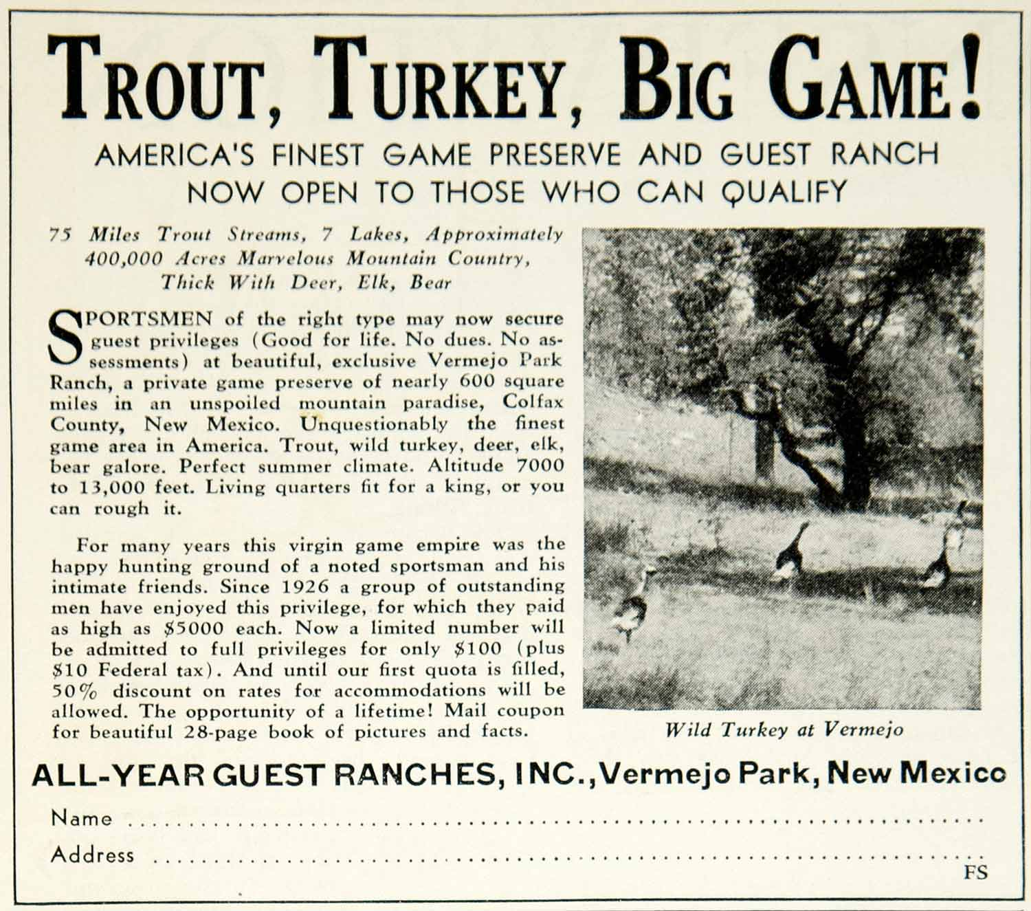 1934 Ad All-Year Guest Ranches Trout Fishing Turkey Hunting Sportsman YFS2