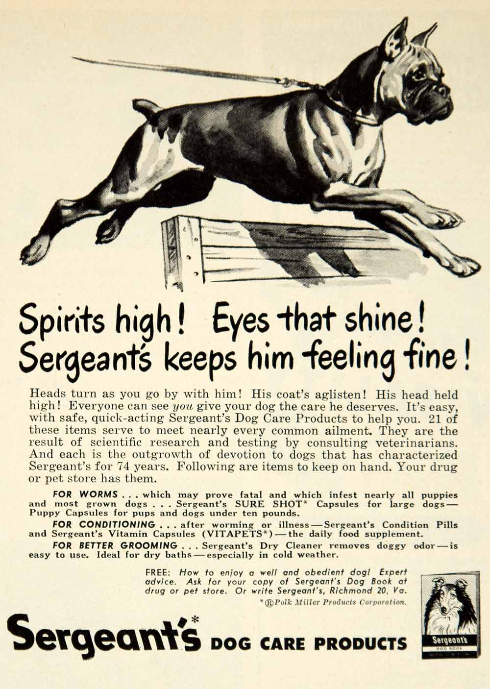 1949 Ad Polk Miller Sergeants Boxer Dog Care Pet Health Vitapets Richmond YFS2