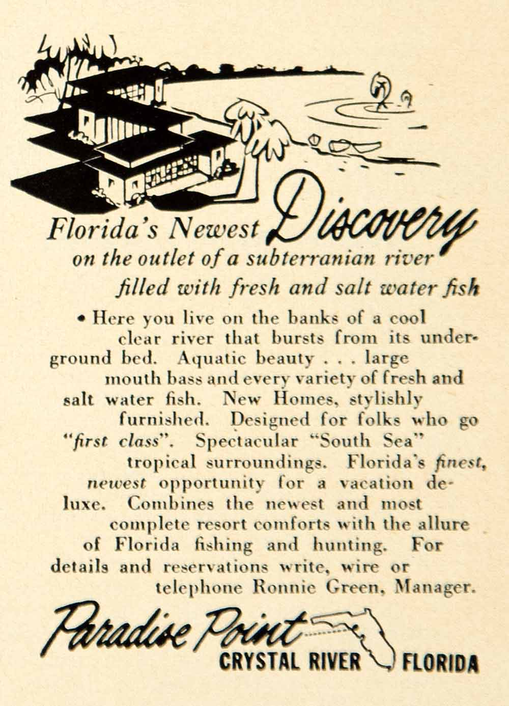1950 Ad Paradise Point Crystal River Florida Fishing Hunting Vacation YFS2