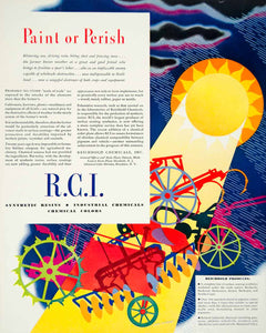 1940 Ad R. C. I. Synthetic Resins Chemicals Industrial Paint Farming YFT1