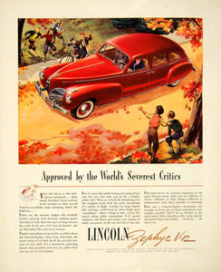 1940 Ad Lincoln Zephyr Car Automobile Vehicle Autumn Fall Road Red Children YFT1