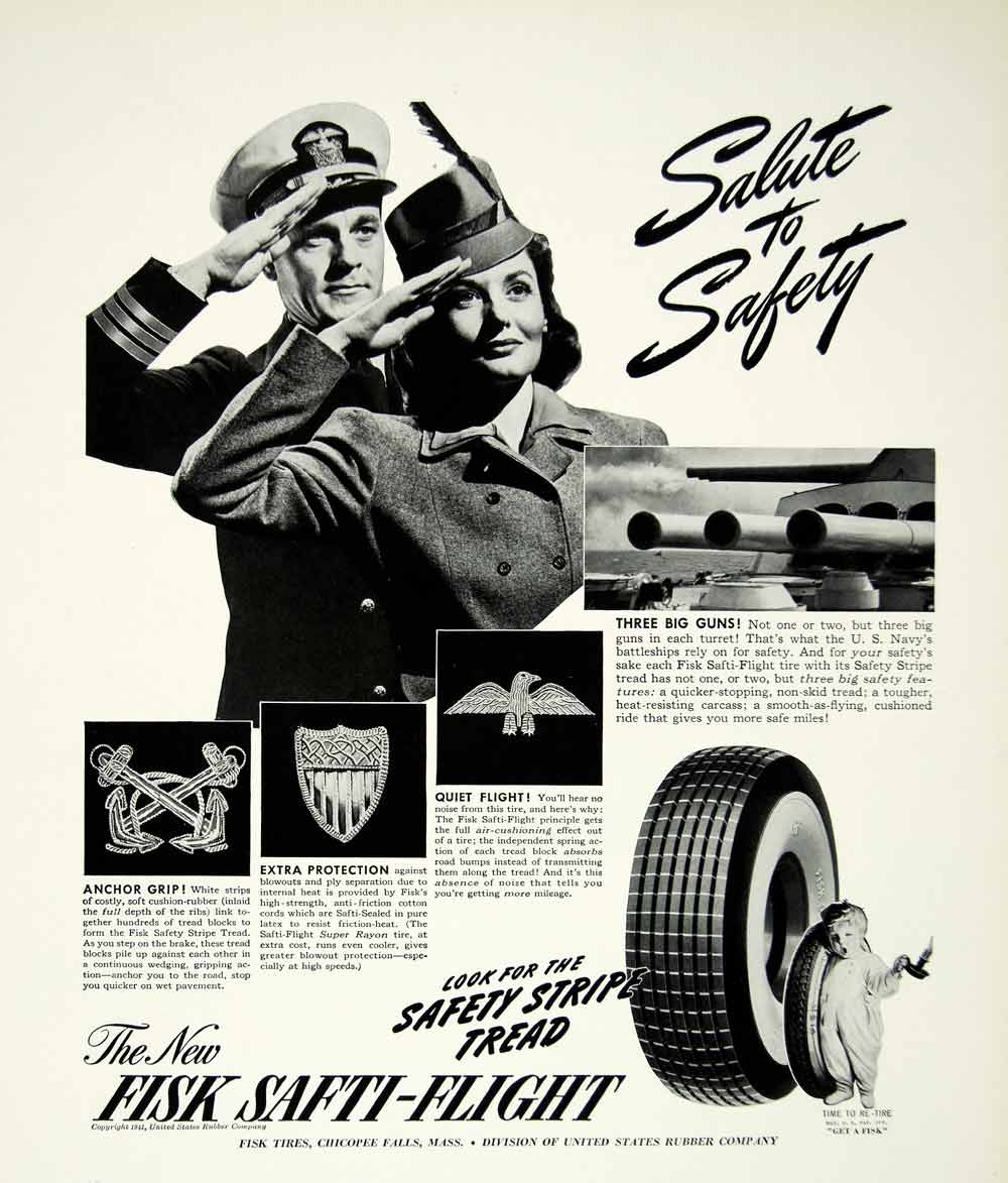 1941 Ad Salute Safety Fisk Safti Flight Tires Car Baby Child Protection YFT1