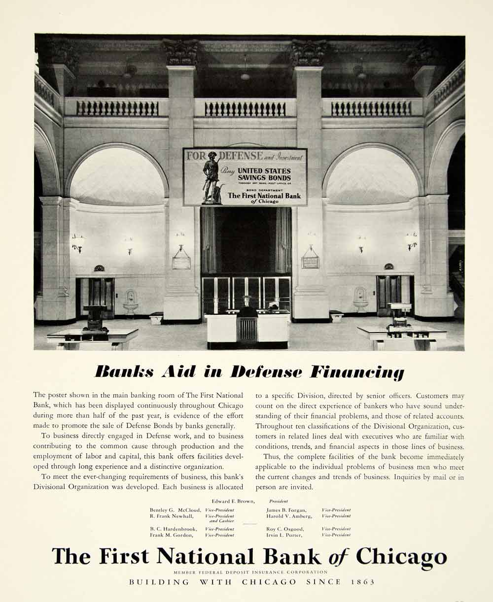 1942 Ad First National Bank Chicago Defense Bonds World War II Finance YFT1