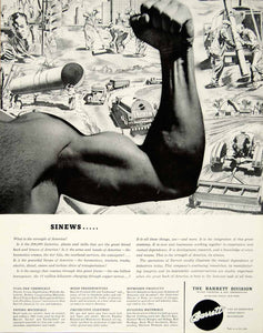 1942 Ad Barrett Division Allied Chemical Dye Tarvia Coal World War YFT1