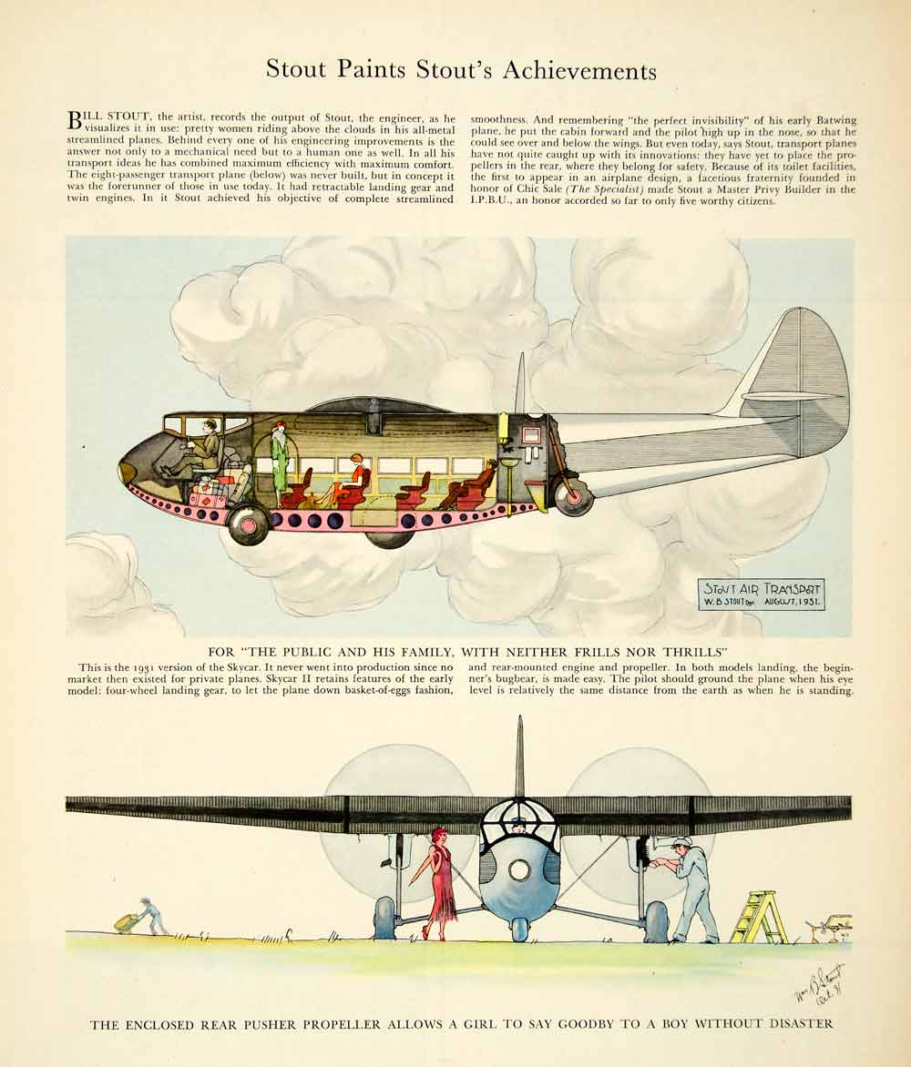 1941 Color Print Stout Paint Aircraft Airplane Flying Pilot Sky Car Travel YFT1