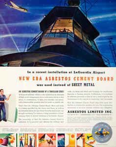 1943 Ad Asbestos Cement Board La Guardia Airport Fireproof Building YFT2