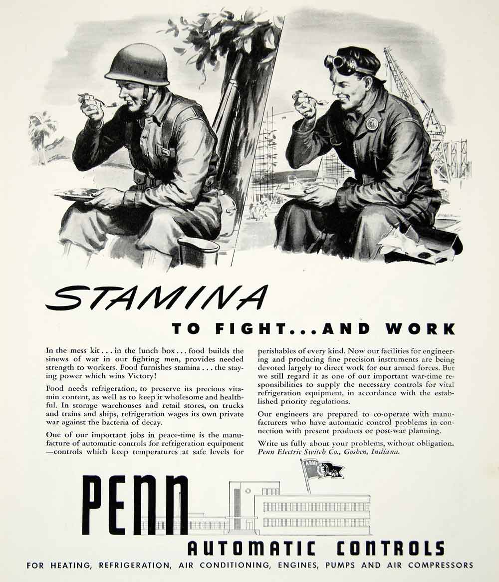 1943 Ad Penn Automatic Controls Soldier World War II WWII Electric Switch YFT2