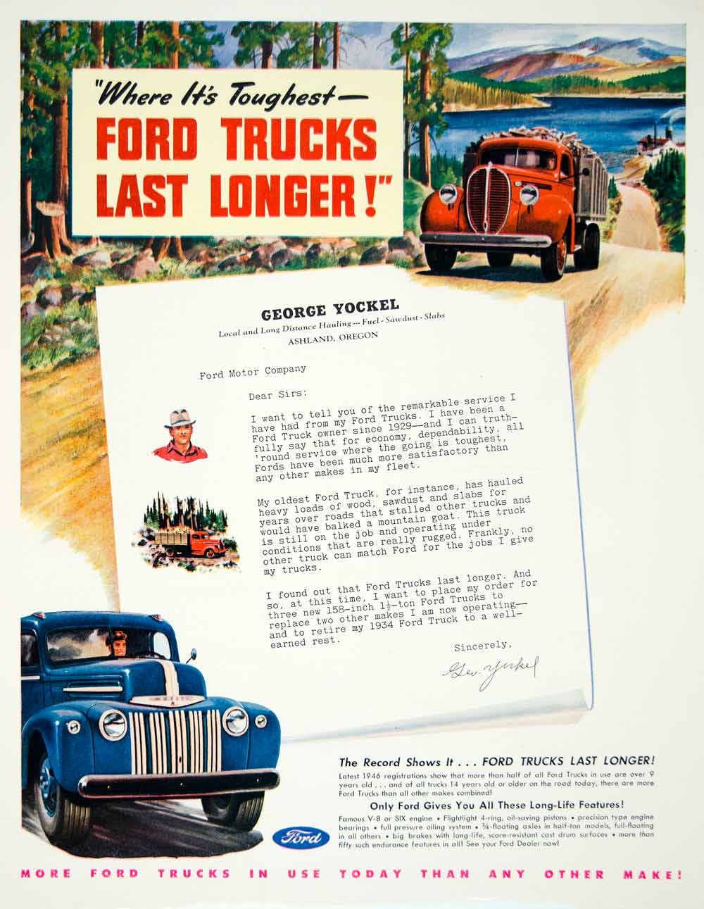 1947 Ad Ford Trucks Landscape Tough George Yockel Automobile Vehicle Oregon YFT3