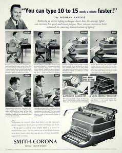 1947 Ad Smith Corona Office Typewriter Company Norman Saksvig Syracuse New YFT3