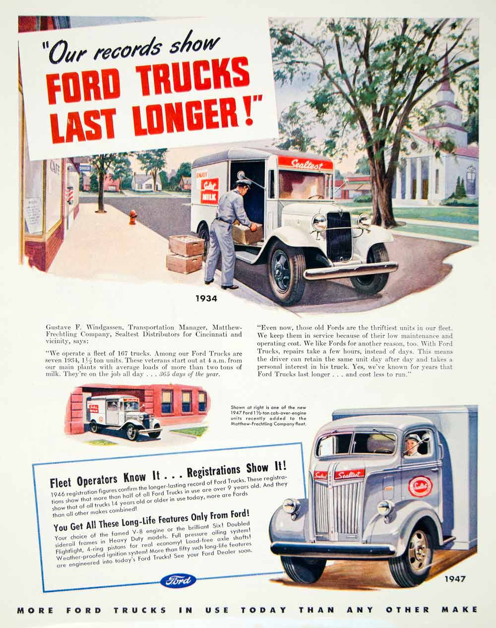 Trucks Page 9 Period Paper 1948 Ford Semi Truck 1947 Ad Motor Company Sealtest Milk Car Automobile Vehicle Yft3