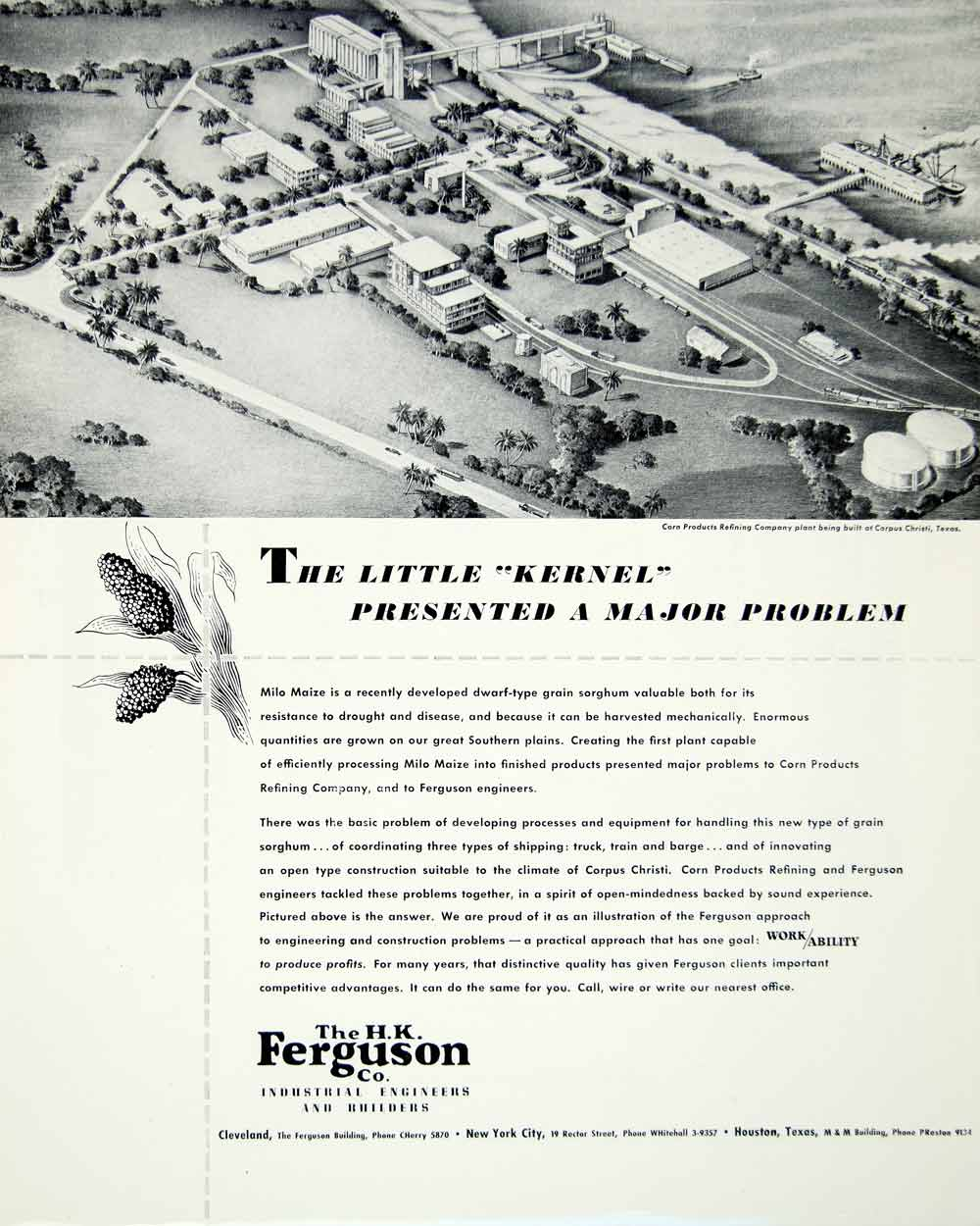 1947 Ad H. K. Ferguson Company Industrial Engineer Builder Corn Product YFT3