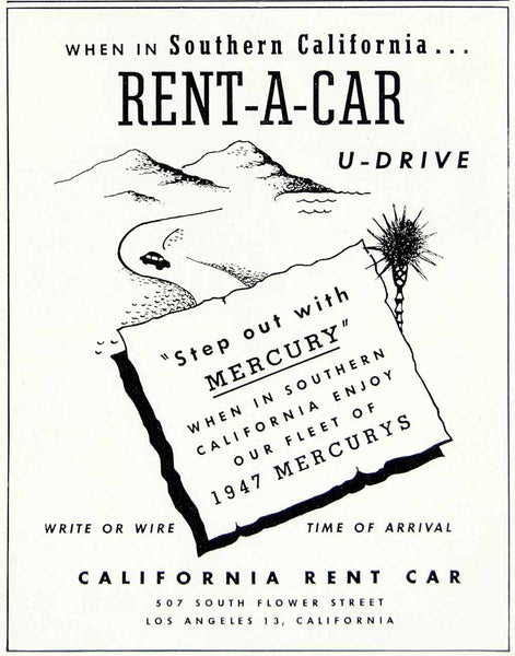 ford tagged corporate business general period paper 1945 Ford Anglia 1947 ad california rent car mercury travel vacation landscape vehicle yft3