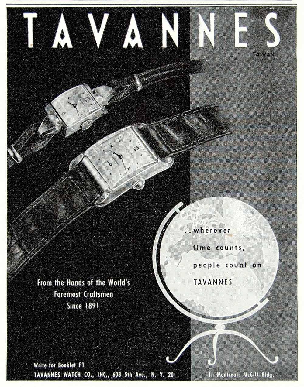 1947 Ad Tavannes Watches Jewelry Men Women Fashion Time Globe 608 Fifth YFT3