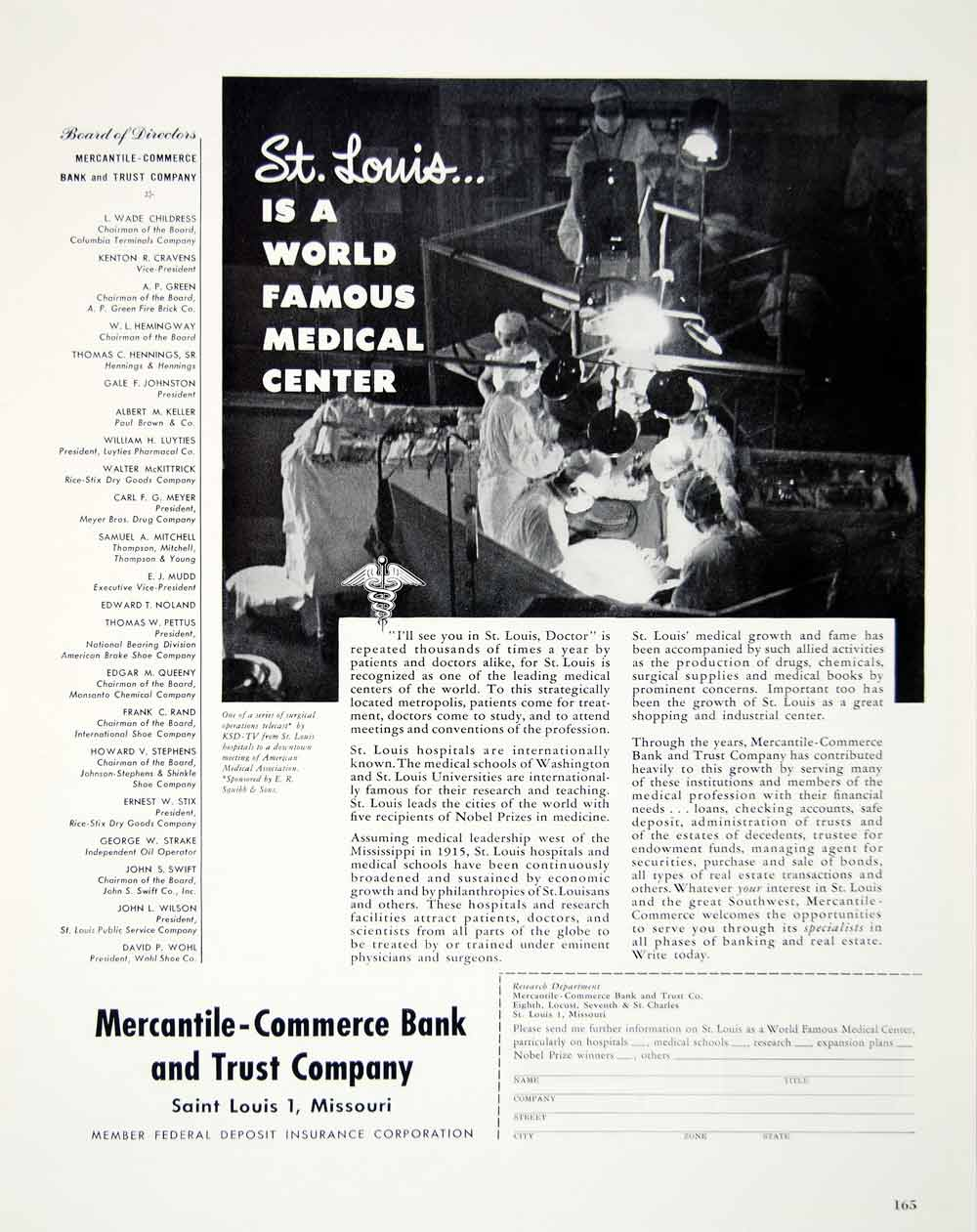 1949 Ad Mercantile Commerce Bank Trust Company Saint Louis Medical Center YFT4
