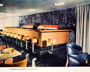 1949 Color Print Barroom S. S. Exeter Cruise Ship Mural Furniture Diner YFT4