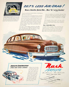 1950 Ad Nash Airflyte Car Auto Motor Vehicle Detroit Michigan Sedan YFT5