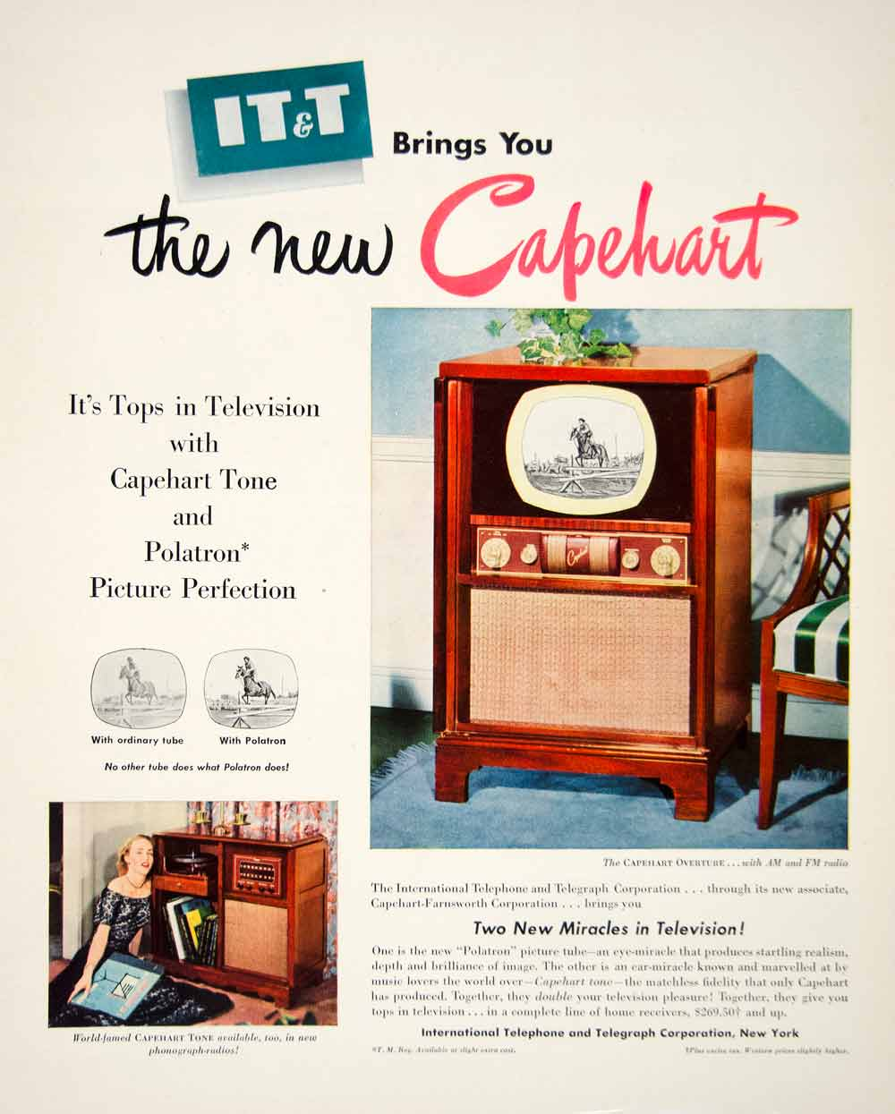 1950 Ad Capehart Overture Radio TV International Telephone Telegraph New YFT5