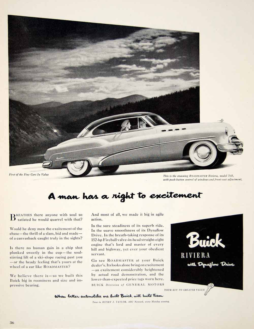 1950 Ad Buick Riviera Model 76R Coupe Dynaflow Drive Auto Car Roadmaster GM YFT5 - Period Paper