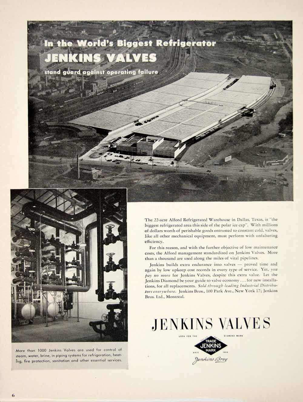 1950 Ad Jenkins Bros Pipe Valves Alford Refrigerated Warehouse 100 Park Ave YFT5