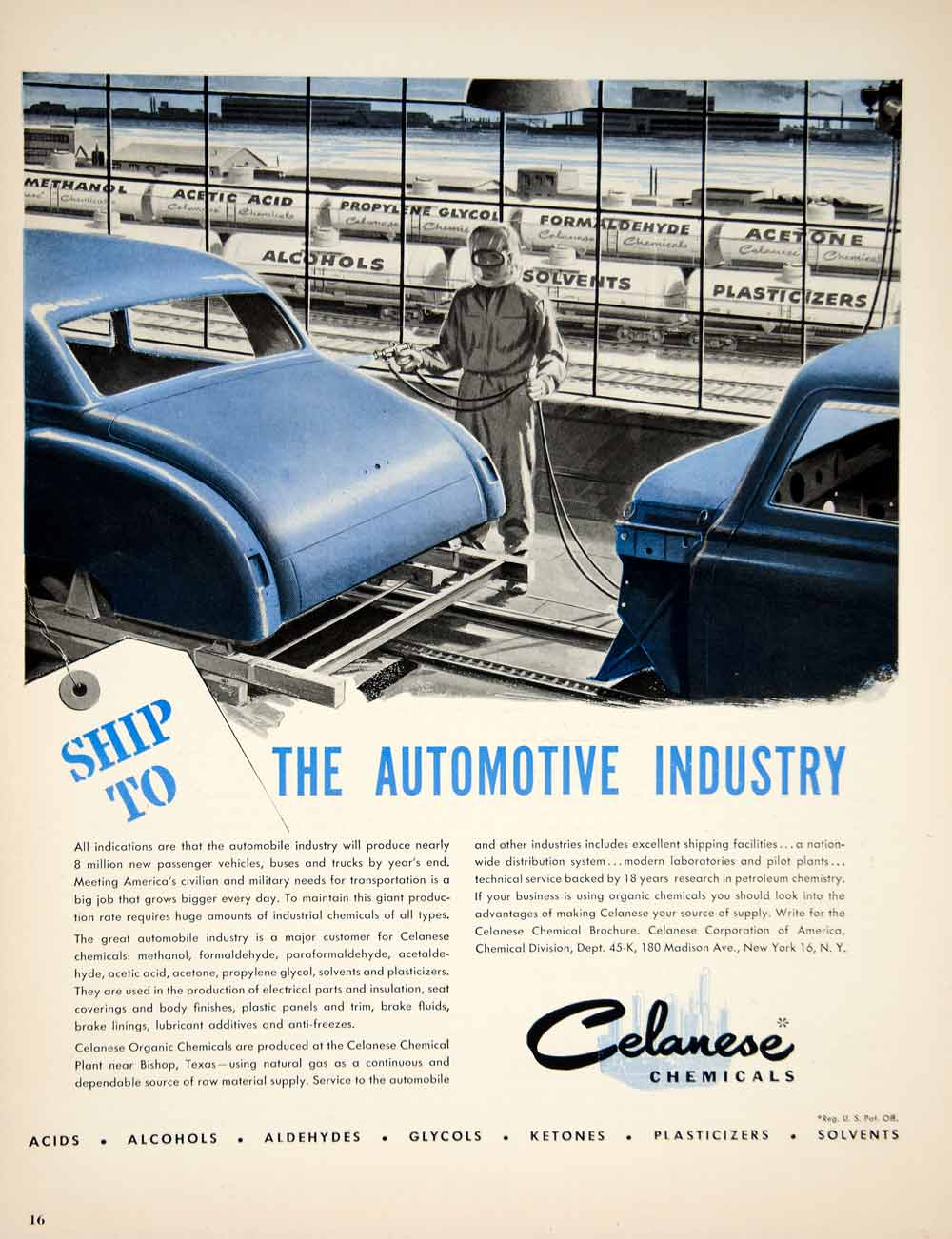 1950 Ad Celanese Chemical Automobile Car Manufacturing Body Paint Science  YFT6