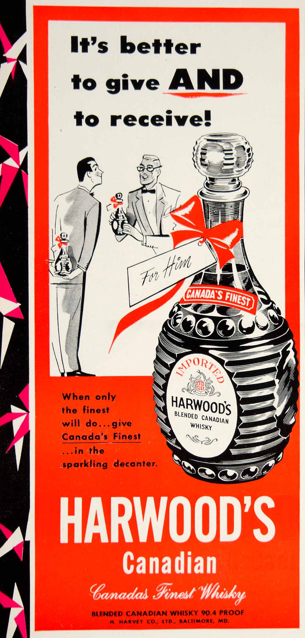 1950 Ad Harwood's Canadian Whisky Liquor Alcohol Beverage Drink Christmas YFT6