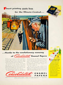 1951 Ad Consolidated Enamel Papers Illinois Central Railroad Train Engineer YFT7