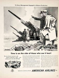 1951 Ad American Airlines Airfreight Noel Sickles Art Military Artillery YFT7